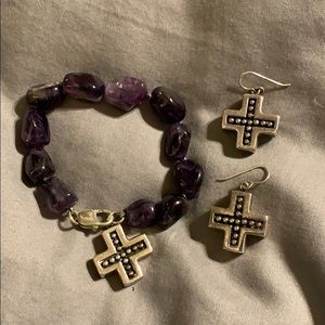 Amethyst Stones and Sterling Silver 3 Piece Set